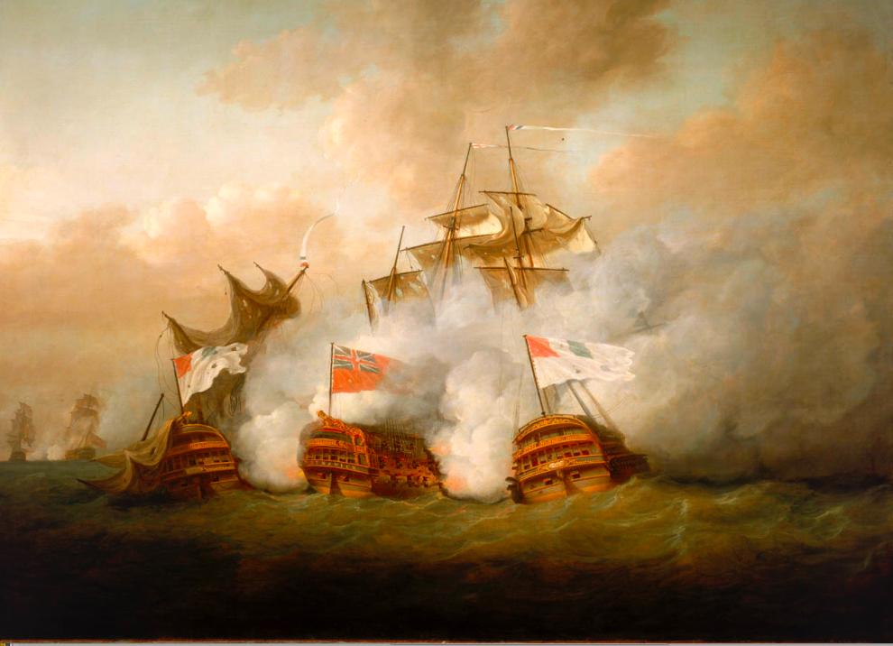 Le Brunswick et le Vengeur du Peuple (à droite) à la bataille du 1er juin 1794 Musee de la Marine. Greenwich