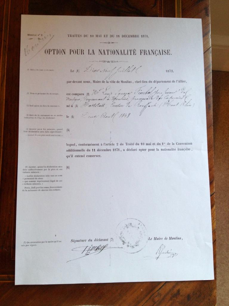 Option pour la nationalité française de Louis Fimbel 1872