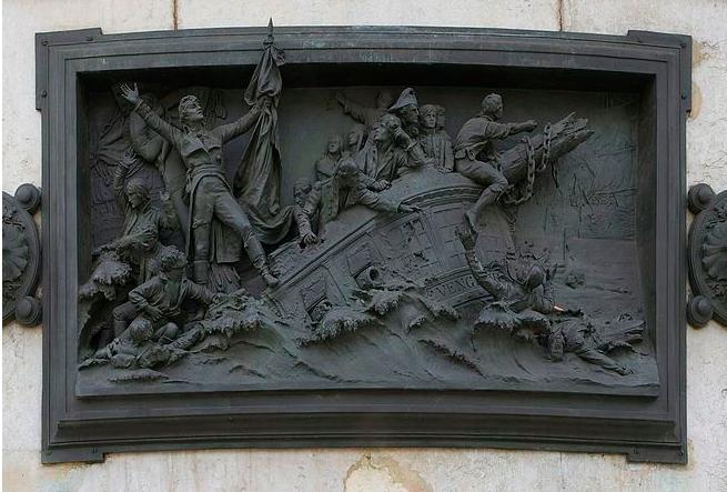 """Le naufrage du """"Vengeur du peuple"""" sur la colonne de la place de la République à Paris"""