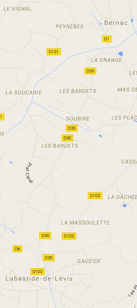 Carte de Labastide-de-Lévis et de ses environs